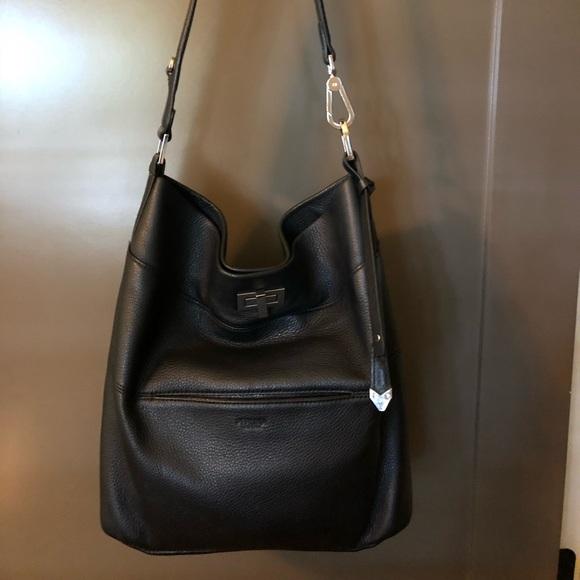 0d17eacb1c Perlina Black Pebbled Leather Shoulder Bag. M 5b6f4c737ee9e22a75ea5838